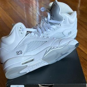 Air Jordan 5 Retro White/Black-Metallic Silver